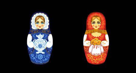 Russian nesting doll. Matryoshka or Russian Babushka doll. Painted ornament matryoshka. Vector illustration on black background.