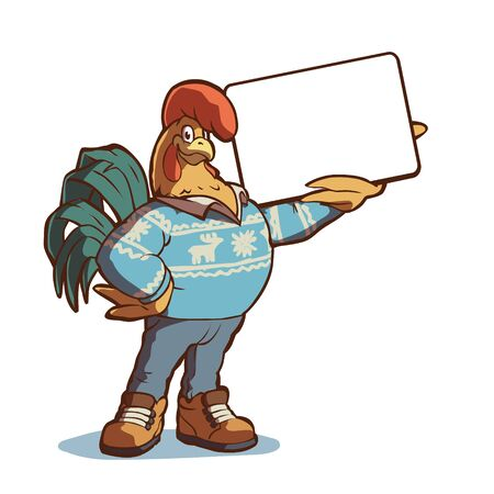 Winter rooster in jeans sweater and boots holds a sign. Vector illustration on white background. Vettoriali