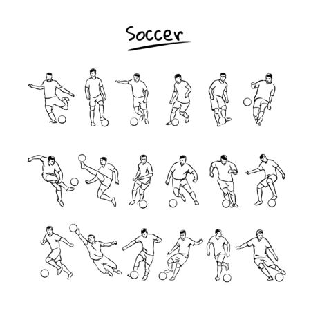 Soccer players kicks the ball.  Vector sketch set.