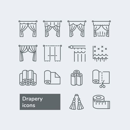 Elements for drapery and curtain shop. Vector line icons with drapes. Different styles of draperies, curtains and tulle.