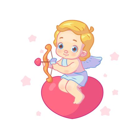 Cute cupid or angel sits on a heart and shoots an arrow of love on a white isolated background. Valentines Day. Character for animation.
