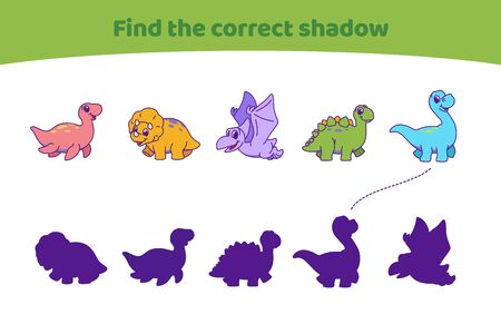 Cute dinosaurs. Find the correct shadow. Find the right path to silhouette. Educational game for children. Cartoon vector illustration. Vettoriali