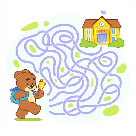 Help cute bear find the right path to school. Schoolboy with backpack walking to school through labyrinth. Maze game for kids. Day of knowledge illustration.