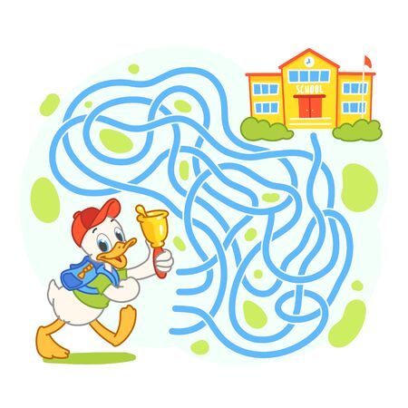 Help cute duck find the right path to school. Schoolboy with backpack go to school through labyrinth. Maze game for kids. Vector illustration Vettoriali