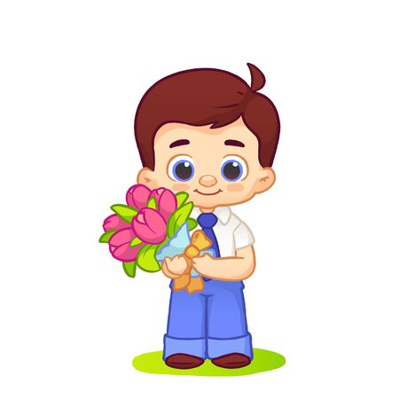 Cute schoolboy smiles stay in a school uniform with tie with tulips flowers. Vector illustration on white background  イラスト・ベクター素材