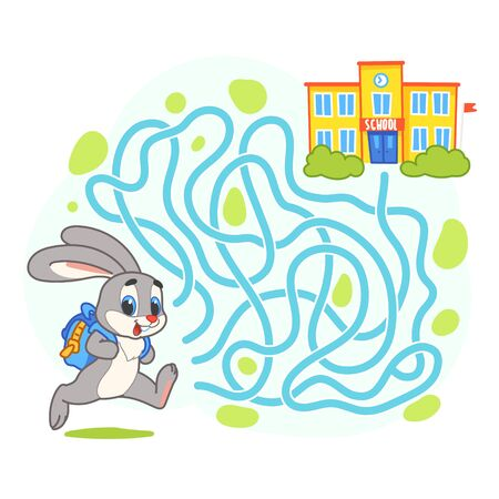 Help cute hare find the right path to school. Schoolboy with backpack run to school through labyrinth. Maze game for kids. Day of knowledge illustration.