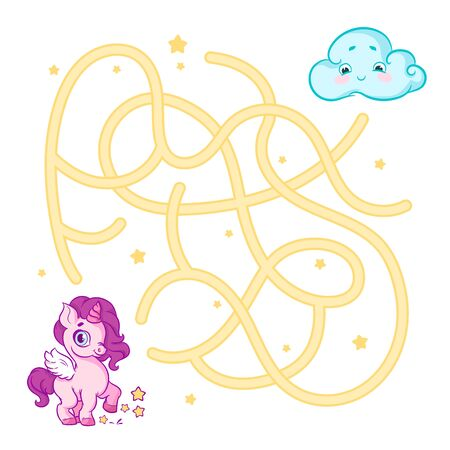 unicorn, Brain game, Game, Fun, Vector, Illustration, Art, Cute, Child, Cartoon, Children, Kids, Kid, School, Way, Drawing, Education, Secret, Solution, Baby, Puzzle, Find, Easy, Brain, Labyrinth , Maze, Enigma, Conundrum, help, pony, hobby, gee, horse, cloud, cartoon, white, background, white background Vettoriali
