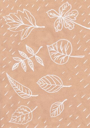 fall leaf print on white paper image of abstract drawing handmade Kraft paper postcard tree leaves nature white lines maple leaves trees pattern