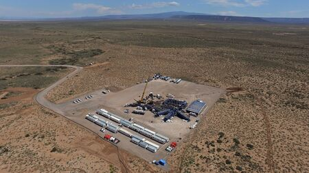 Aerial photo of hydraulic fracturing equipment. (FRACKING)