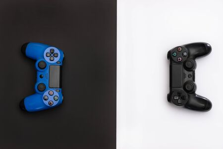 game console controls in black and white background. Фото со стока