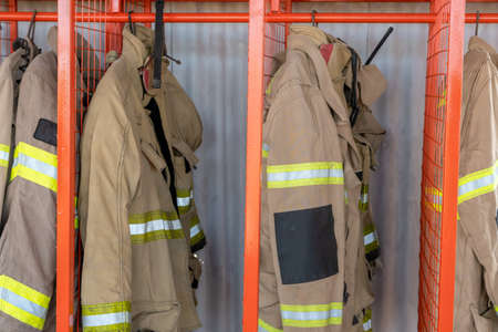 Firefighter uniforms horizontal photo in station
