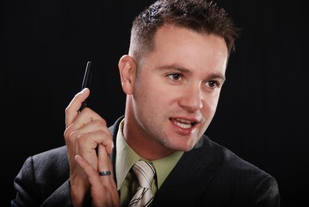 Young Businessman Talking on Phone