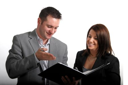 good deal: Businessman and businesswoman looking at the good deal Stock Photo