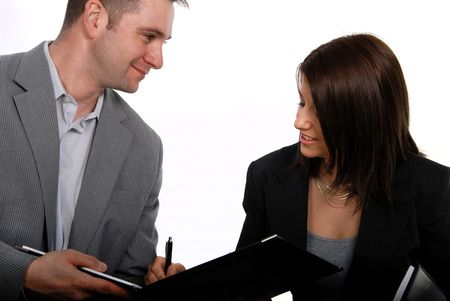 Businesswoman signing a deal photo