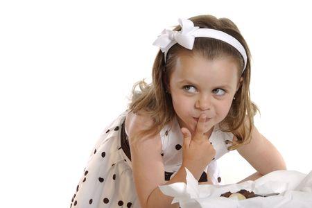 cautious: Young Girl Cautious
