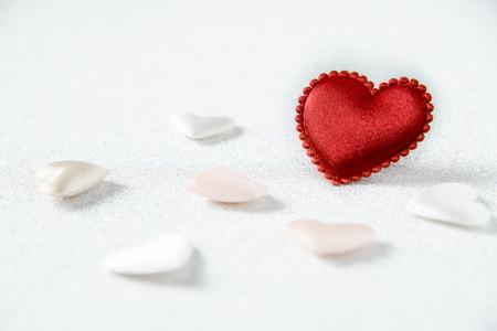 glitzy: REd Heart on glitzy shite background on love and valentine concept