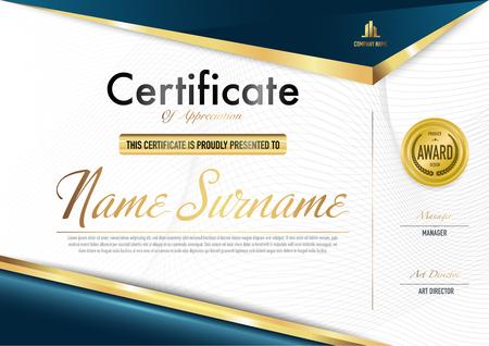 Modello di certificato di lusso e stile diploma, illustrazione vettoriale.