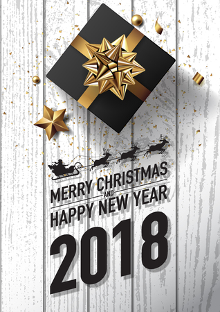 2018 merry christmas and happy new year vector greeting card and poster design with golden ribbon,star and giftbox on white wood textured.
