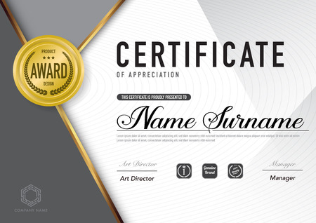 Certificate template luxury and diploma style,vector illustration. Stok Fotoğraf - 114883070