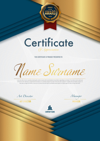 Certificate template luxury and diploma style,vector illustration. Stok Fotoğraf - 114883076