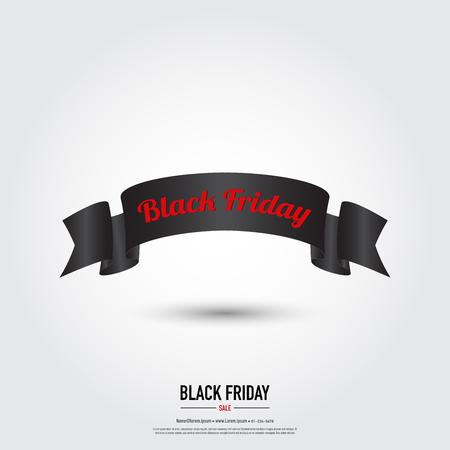 Black Friday ribbon banner ,sale concept,vector eps10. Illustration