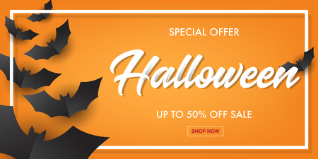 Halloween typography with black bat paper art sale banner.Vector illustration. Çizim