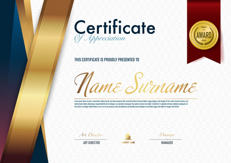 Certificate template luxury and diploma style,vector illustration. Stok Fotoğraf - 114909865