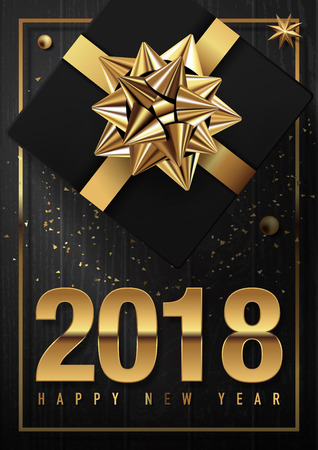 2018 happy new year vector greeting card and poster design with golden ribbon,gift box and star. Çizim