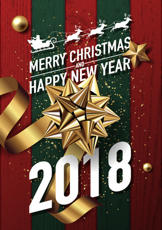 2018 merry christmas and happy new year vector greeting card and poster design with golden ribbon,star and giftbox on red-green wood textured.