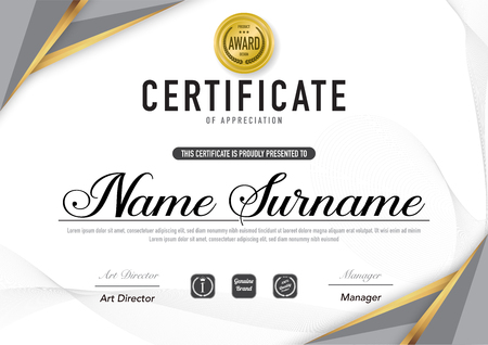 Certificate template luxury and diploma style,vector illustration. Stok Fotoğraf - 114883098