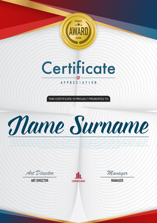 Certificate template luxury and diploma style,vector illustration. Stok Fotoğraf - 114883099