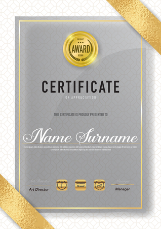 Certificate template luxury and diploma style,vector illustration. Stok Fotoğraf - 114883110