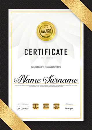 Certificate template luxury and diploma style,vector illustration. Stok Fotoğraf - 114883116