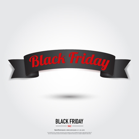 Black Friday ribbon banner ,sale concept,vector eps10. Çizim