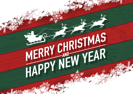 Merry christmas and happy new year text with santa claus vector greeting card and poster design snow flakes on red-green wood textured.