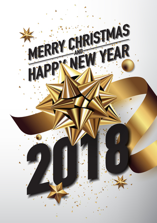 2018 happy new year vector greeting card and poster design with golden ribbon and star.
