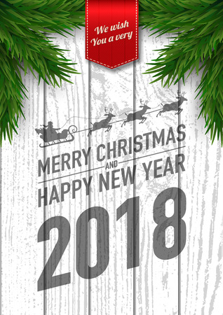 Merry christmas and happy new year 2018 vector greeting card and poster design with fir tree ,golden ribbon and star on wooden background.Vector illustration. Çizim