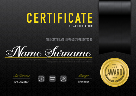 Certificate template luxury and diploma style,vector illustration. Stok Fotoğraf - 114883123