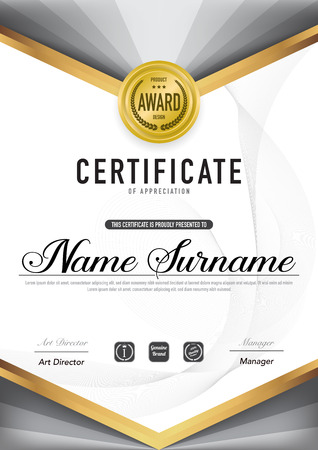 Certificate template luxury and diploma style,vector illustration. Stok Fotoğraf - 114839051
