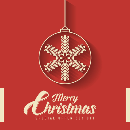 Merry christmas greeting card design,background with snowflakes and typography.