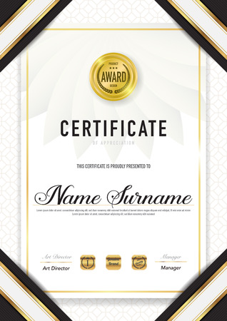 Certificate template luxury and diploma style,vector illustration. Stok Fotoğraf - 114839064