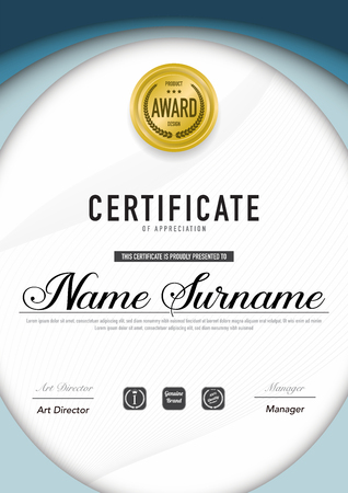 Certificate template luxury and diploma style,vector illustration. Stok Fotoğraf - 114786388