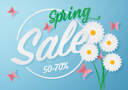 Illustration of Spring sale banner design with paper art of flower and butterfly.Vector eps 10. Illustration