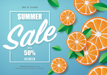 Vector illustration of summer sale banner design with paper craft style.