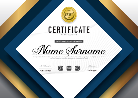 Certificate template luxury and diploma style,vector illustration. Stok Fotoğraf - 114786402