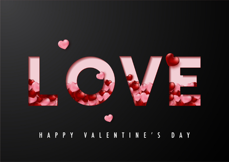 Happy valentines day vector card and poster design with love text and heart confetti.Illustration eps10. Çizim