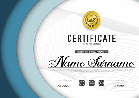 Certificate template luxury and diploma style,vector illustration. Stok Fotoğraf - 114710368