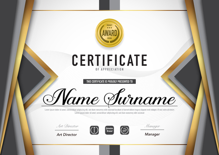 Certificate template luxury and diploma style,vector illustration. Stok Fotoğraf - 114710377