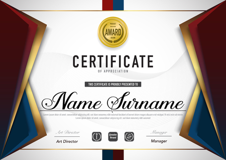 Certificate template luxury and diploma style,vector illustration. Stok Fotoğraf - 114710405