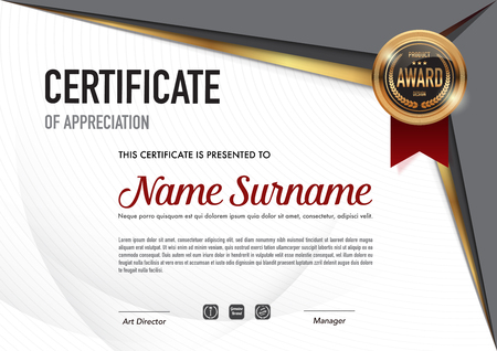 Certificate template luxury and diploma style,vector illustration. Stok Fotoğraf - 111905029